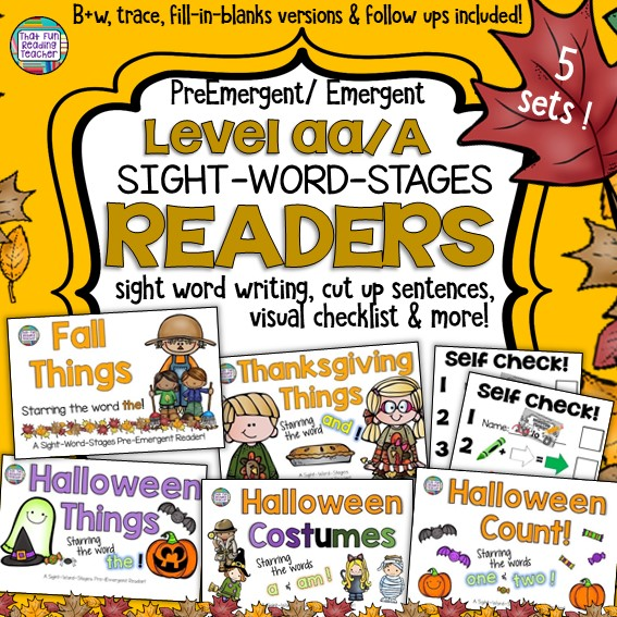 Treat your kindergarten and early literacy learners to these fun Level aa / Level A Sight Word Readers with cut up sentences and Fall, Thanksgiving, and Halloween activities! Color copies to keep in the classroom, bw versions to differentiate and send home! These high-interest stories target specific sight words while allowing early readers to maintain attention to the meaning in the pictures. $ #Halloween #fall #autumn #guidedreading #sightwords