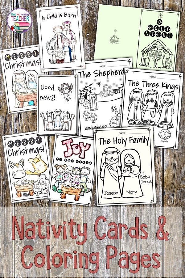 Fun coloring pages and printable cards about Jesus' birth for kindergarten and primary students! $ #christmas #teaching #kindergarten #nativity #printables #noprep #coloring #printables #thatfunreadingteacher