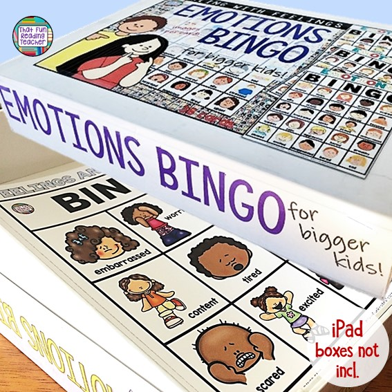 Teacher organizational hack built into the Dealing-With-Feelings BINGO games - images included if you are lucky enough to have an iPad box in your possession! #teacherhack #feelingsbingo #tpt #classroomorganization #ThatFunReadingTeacher #DWF