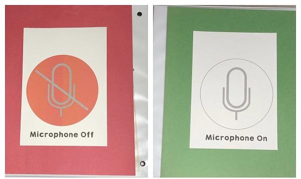 Google Meet microphone symbols in my binder covers