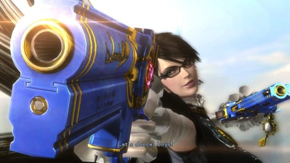 "Bayonetta pointing a large gun very close to the camera with the caption ""Let's Dance, Boys"""