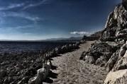 Along the limestone cliff.