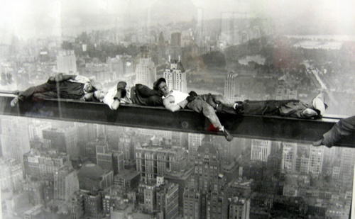 catching 40 winks - taking a little nap on a beam building a skyscraper