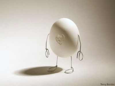 boiled egg with cracked heart shape bent object art