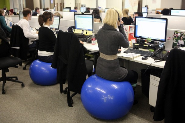 sitting on exercise ball at work