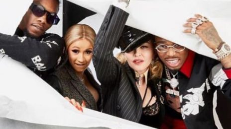 Image result for CARDI B, OFFSET AND QUAVO TAKE AN EPIC PHOTO WITH MADONNA AT HER 2018 OSCARS PARTY