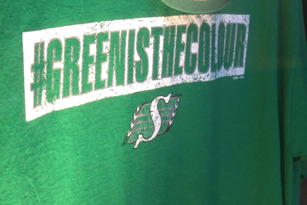 #GreenIsTheColour and Saskatchewan Roughriders logo for the 2013 Grey Cup in Regina, SK