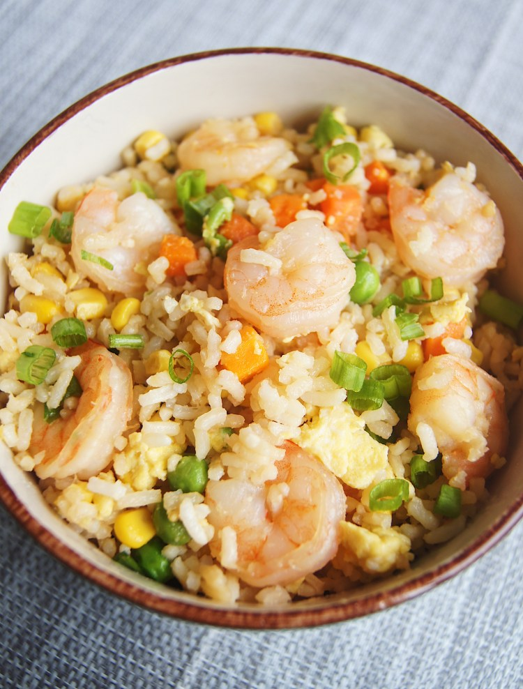 One-Pot-Shrimp-Fried-Rice-in-a-bowl-with-brown-rim