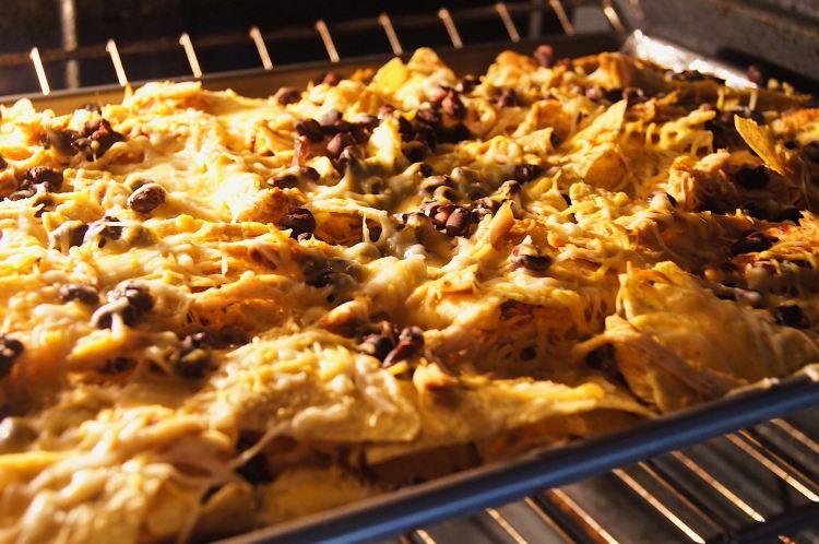 Sheet-Pan-Chicken-Nachos-in-oven
