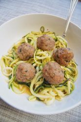 Trukey-Meatballs-and-zoodles-in-a-bowl-with-a-fork-on-a-gray-background