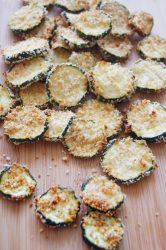 Zucchini-chips-on-cutting-board-front-view-2