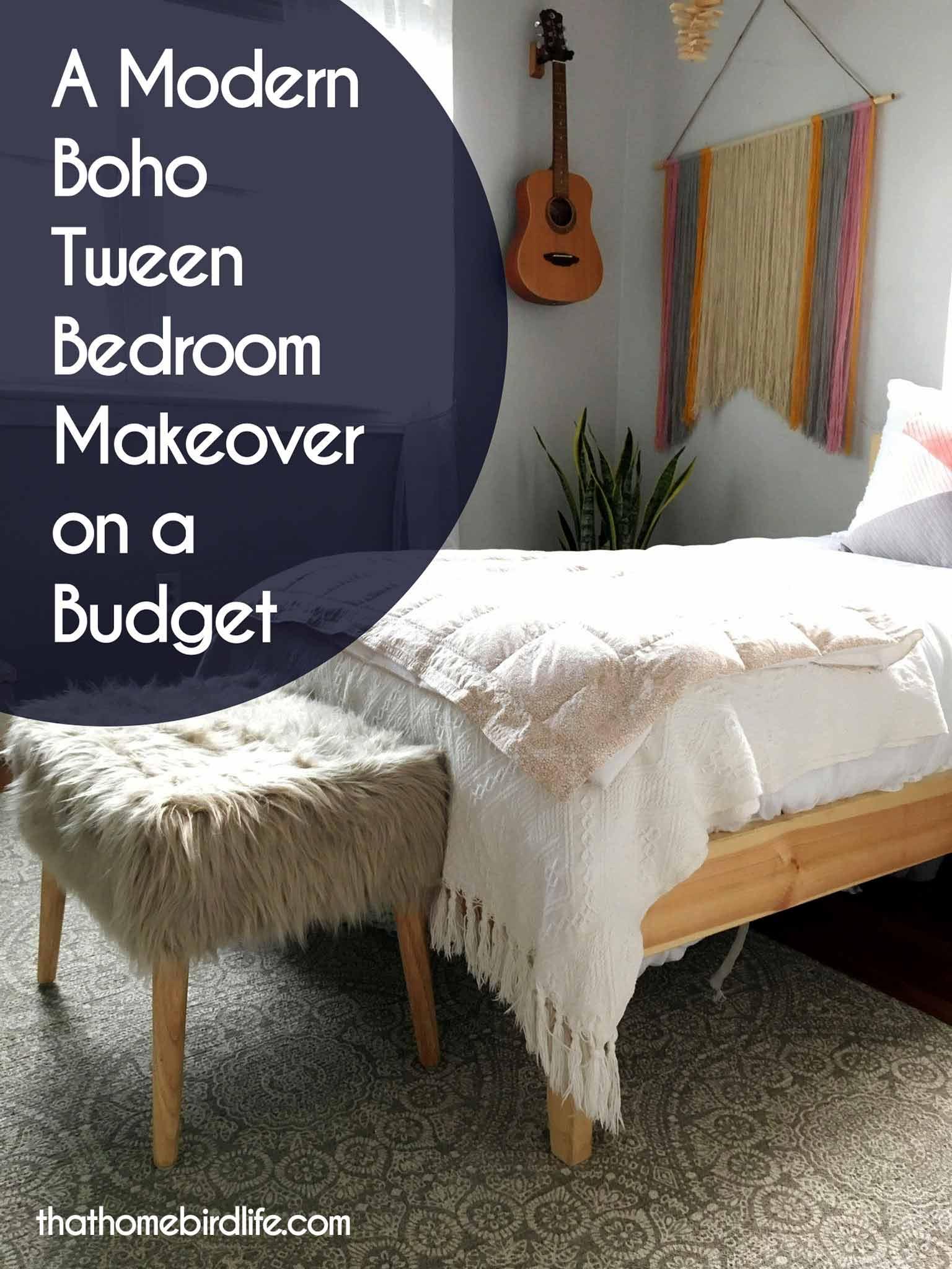 A Modern Boho Tween Bedroom Makeover on a Budget | That ... on Boho Bedroom Ideas On A Budget  id=83270