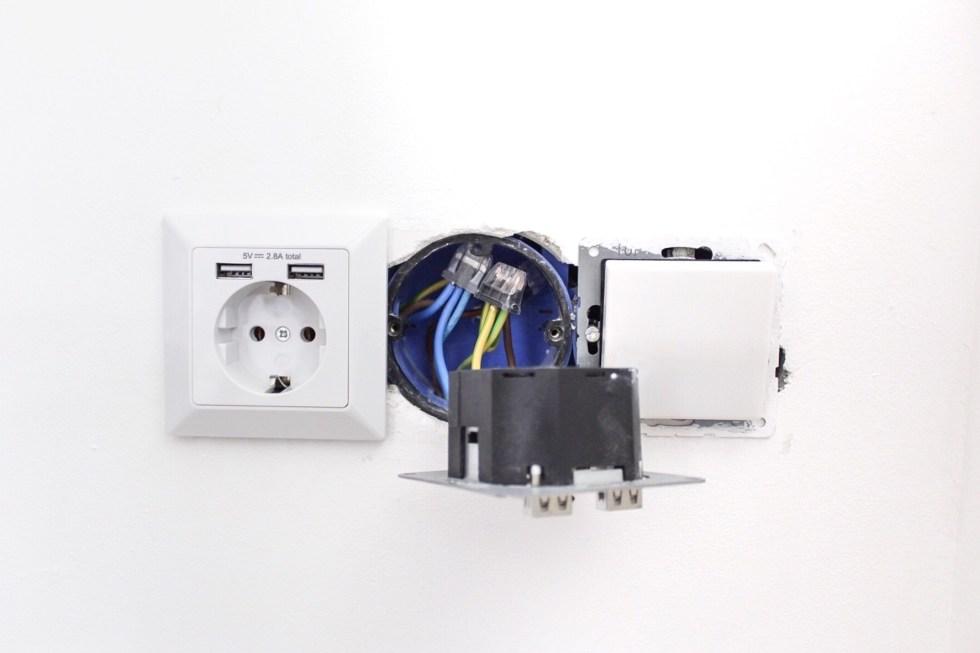USB stopcontact, stopcontact, usb stopcontact, klussen, lidl, doe het zelf, interieurblog, thathomepage, (th)athomepage