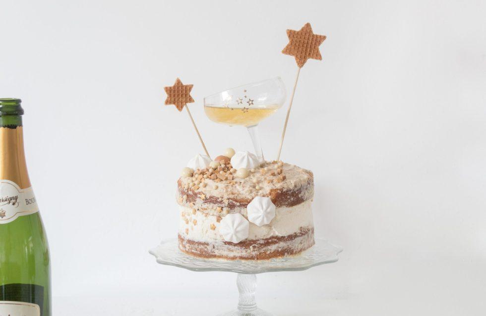 champagnetaart, oud en nieuw taart, nieuwjaarstaart, taart maken, taart, taart decoreren, taartdecoratie, snelle taart, makkelijke taart, diepvriestaart, Lidl taart, salted caramel, inspiratie, thathomepage, (th)athomepage