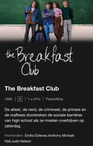 The Breakfast Club, Netflix, Netflixtip, kijktip, kijktips, guilty pleasure films, guilty pleasure