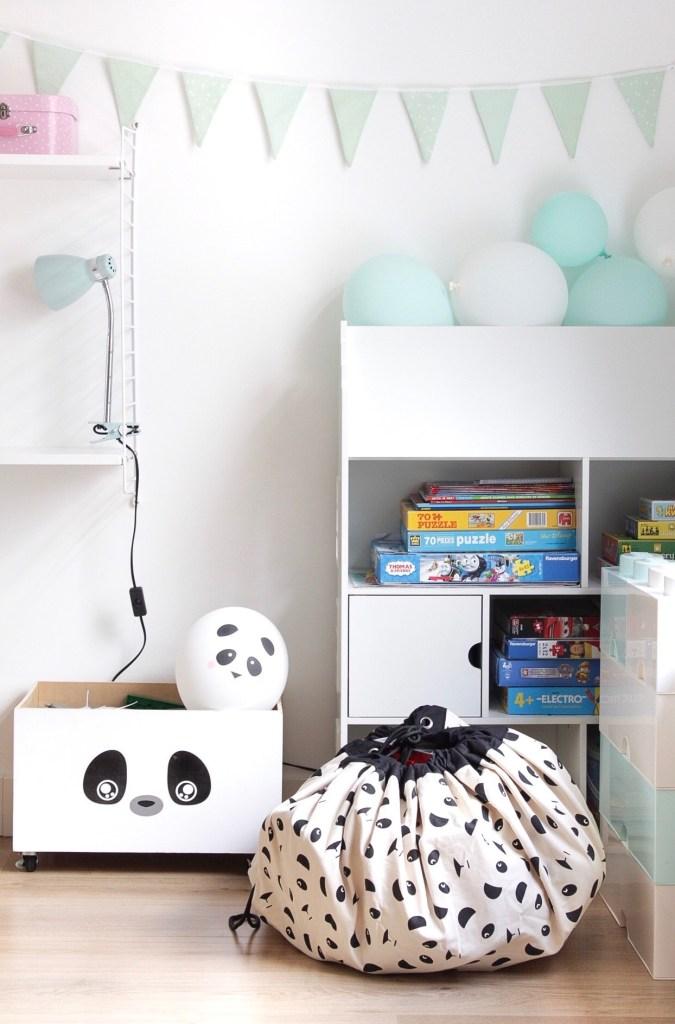 panda, opbergzak, speelgoed opberger, speelgoed opbergen, Play&Go, panda, pandafeestje, speelhoek, speelgoed, inspiratie, thathomepage, (th)athomepage