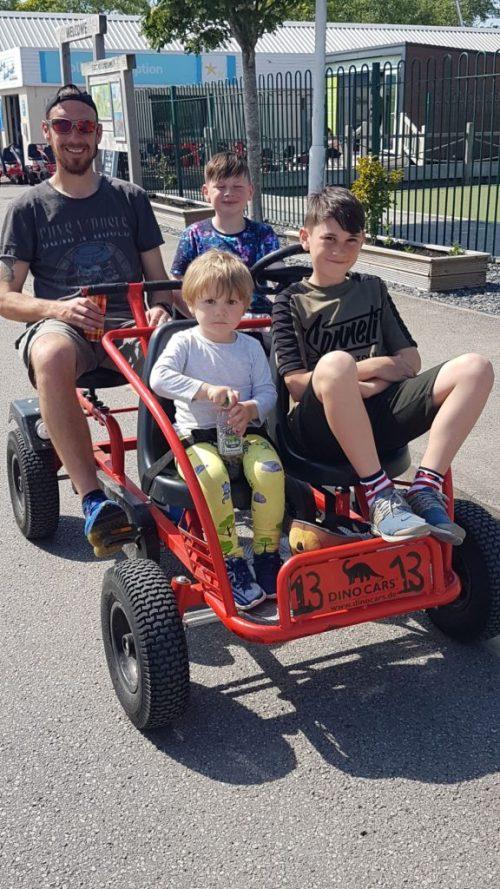 family on a go cart