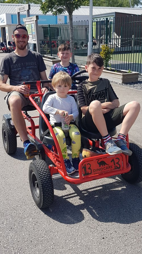 family on a go cart