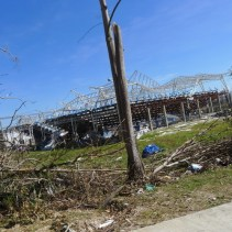 The typhoon crumpled even the seemingly sturdy metal bars of this gymnasium in Baganga, Davao Oriental.