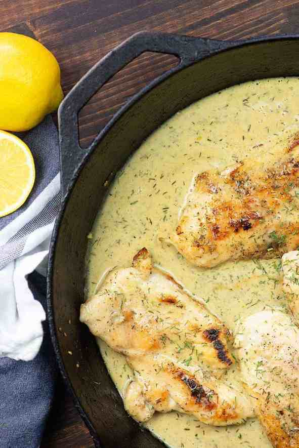 simple dinner ideas, creamy garlic chicken in cast iron skillet