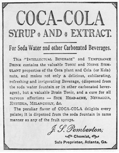 Early advert for Coca-Cola. Source:http://www.wikiwand.com/en/Coca-Cola
