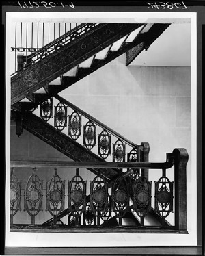 Chicago Stock Exchange Building Staircase, cast iron, walnut banister  by Louis Henri SULLIVAN (1856-1924)
