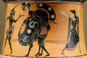 Black figure pot painting of Ajax carrying Achilles with Hermes and Athena