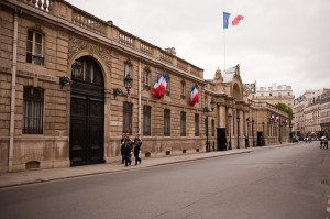 British Embassy on rue du Fbg St Honore with french flags flying outside
