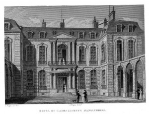 Black and white sketch of Pauline Borghese's Paris Palace, now the British Embassy