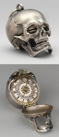 18th century Memento Mori Clock inside a silver skull, Paris, Louvre