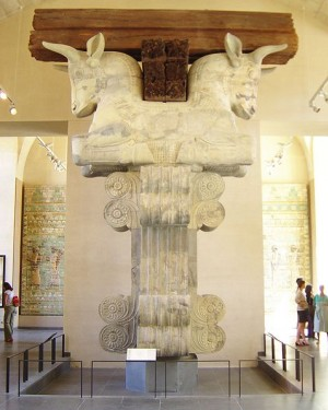 Bull Headed stone capital from Darius' Winter Palace, Susa, Iran 6th Century BC. In the Louvre Paris