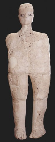 Ain Ghazal. neolithic sculpture. At 9000 years old, Ain is the earliest work that the Louvre