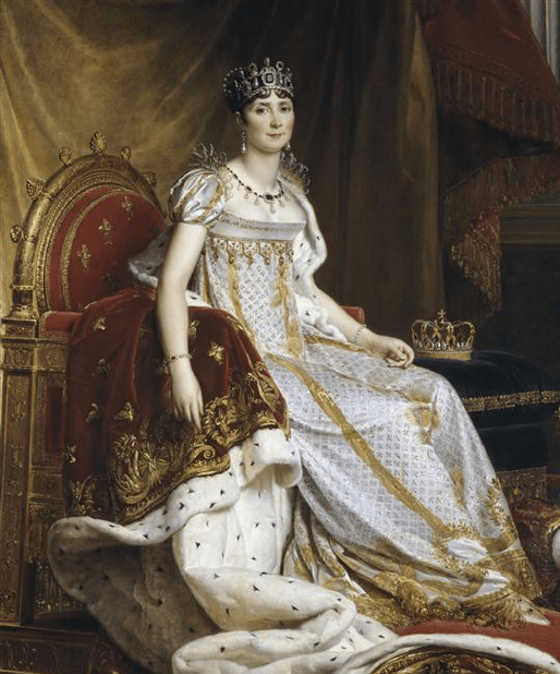 François Gérard portrait of Empress Josephine on a throne in a crown and white dress, at the Museum of the History of France. 1800s