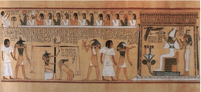Papyrus from the Book of the Dead showing judgment of the heart before Osiris Isis Horus Thoth and Anubis