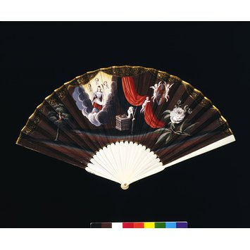 Royalist handheld fan from V&A collection showing support for Stewarts, 1700's