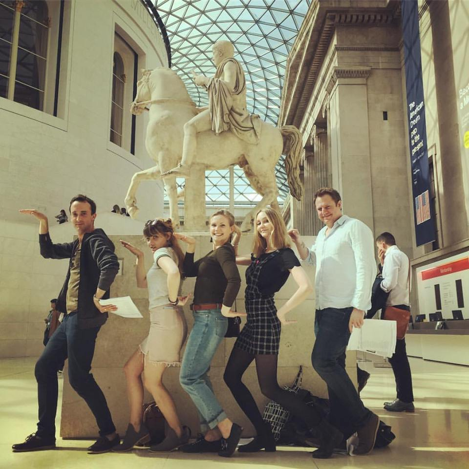 Five people on a THATMuse British Museum treasure hunt, in the Great Court of the British Museum