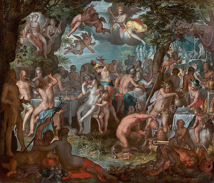 Painting of Thetis and Peleus's wedding feast by Joachim Wtewael. A busy scene of celebration and debauchery.