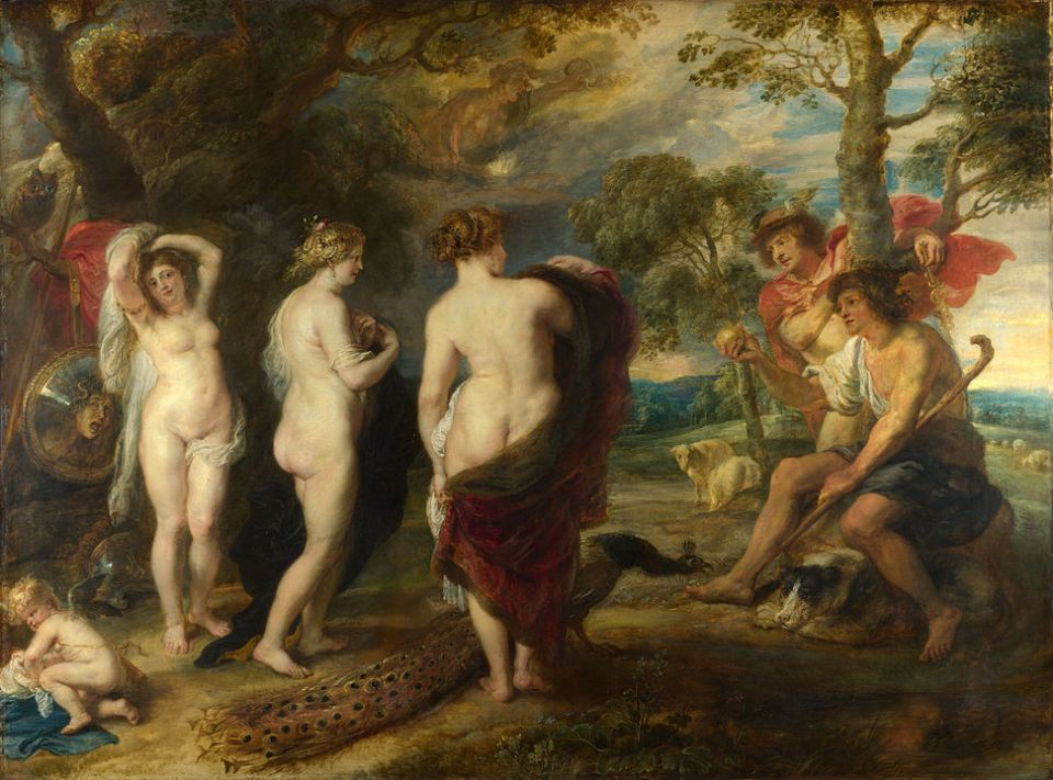 Paris offers a golden apple to Venus, angering Minerva and Juno. Painting by Peter Paul Reubens from British National Gallery