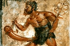 A greek painting of Priapus with a comically large phallus