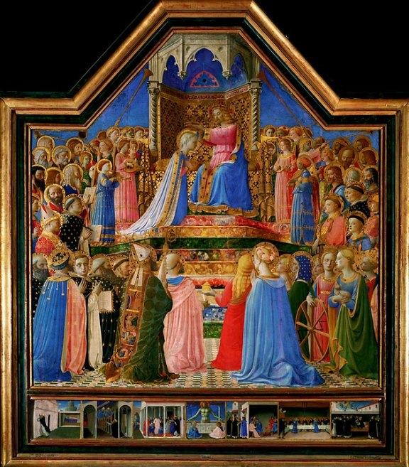 Fra ANgelico's coronation of the virgin, with life of st dominic predella