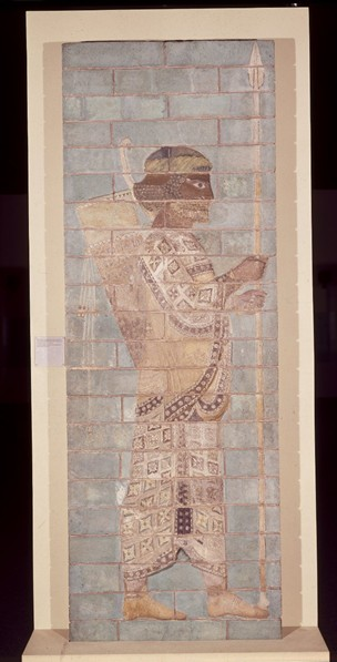 One of Darius's 'Immortals', coloured tiled sculpture, British Museum