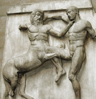 Metope of the Parthenon showing Lapith and Centaur in a fight