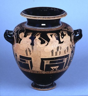 Greek vase showing a symposium