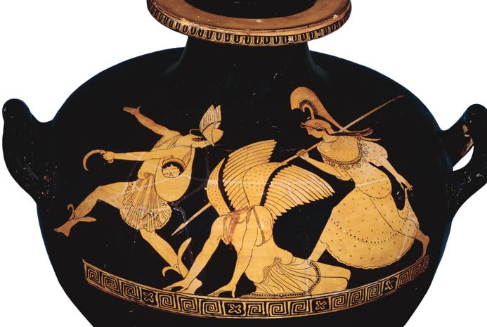 Vase with image of Perseus and Medusa: Perseus flies away with Medusa's head in his bag