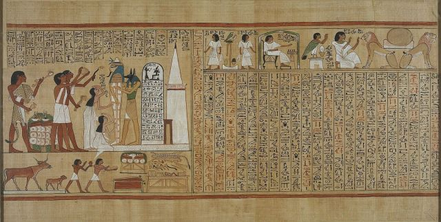Image of an Egyptian manuscript, the Book of the Dead of Hunefer. In the top right, you can see Hunefer playing the game of Senet.