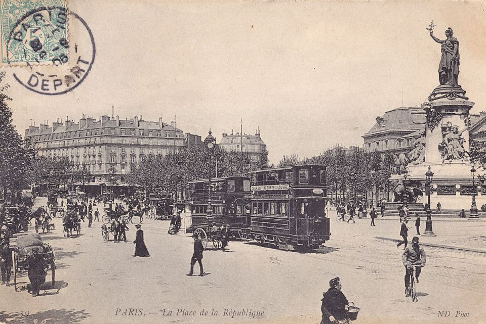 Old postcard showing the Marianne statue at Place de la Republique, Paris