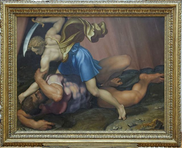 painting of David beheading Goliath