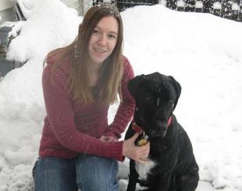 Woman who feeds her dog raw dog food