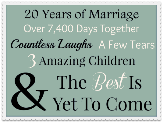 Happy 20th Anniversary To My Special Guy...20 Reasons Why