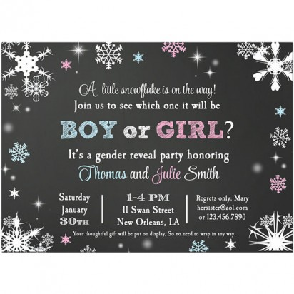 Snowflake Gender Reveal Party Invitation By That Party